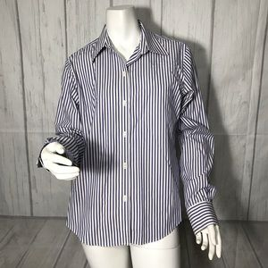 Brooks Brothers blue white button front shirt T174